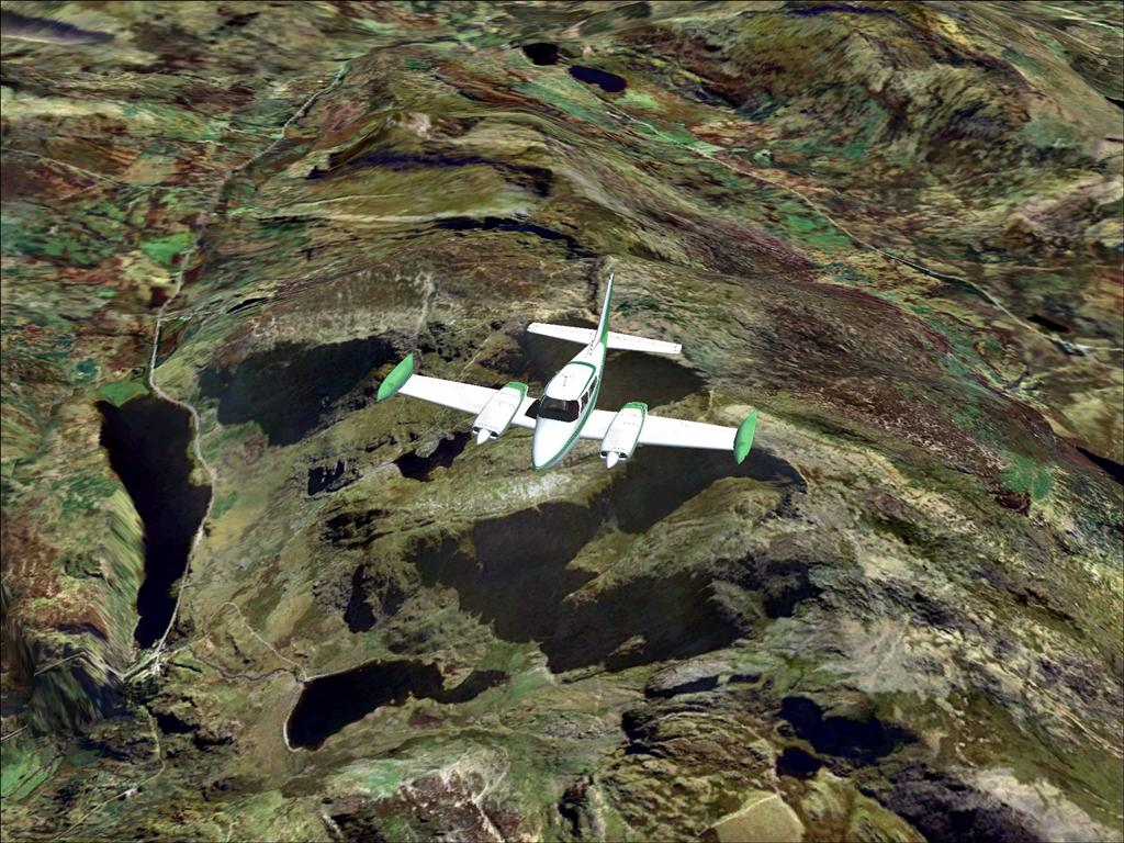 Cessna 310 over Snowdonia